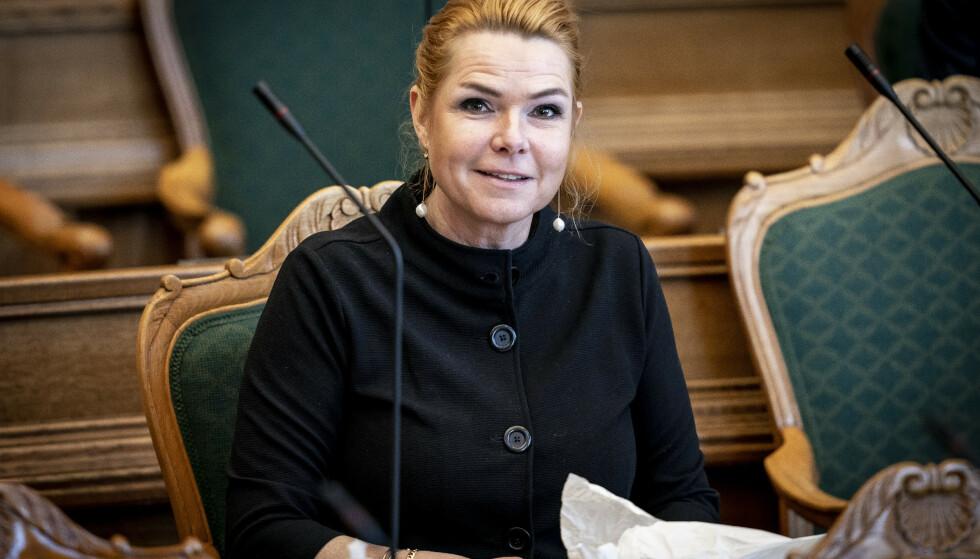 Inger Støjberg under Folketingets behandling av riksrettstiltalen mot henne i begynnelsen av februar. Foto: Mads Claus Rasmussen / Ritzau Scanpix/ NTB