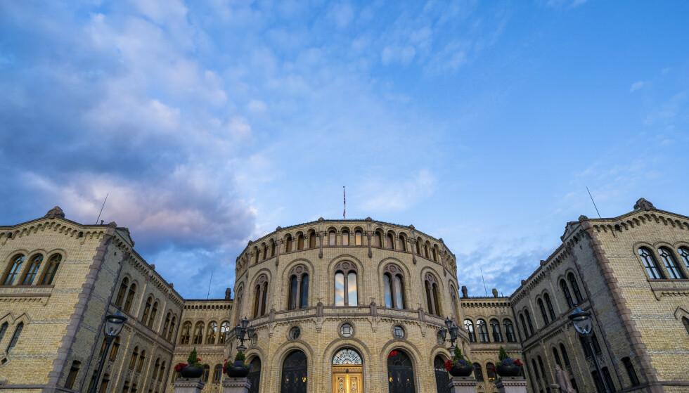 Stortinget i Oslo onsdag kveld. 13. september avholdes stortingsvalget 2021.Foto: Håkon Mosvold Larsen / NTB