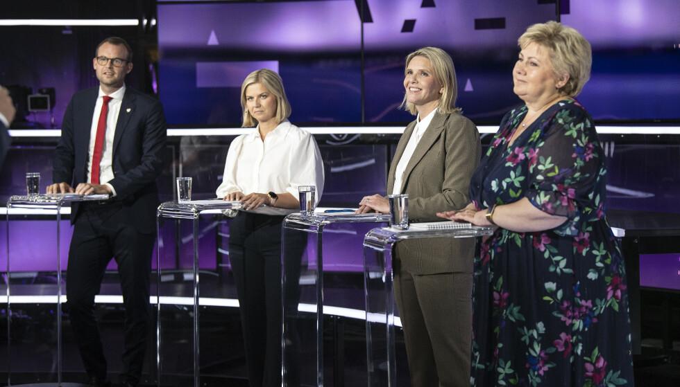 Partilederdebatten på TV 2 tirsdag. Foto: Marit Hommedal / NTB