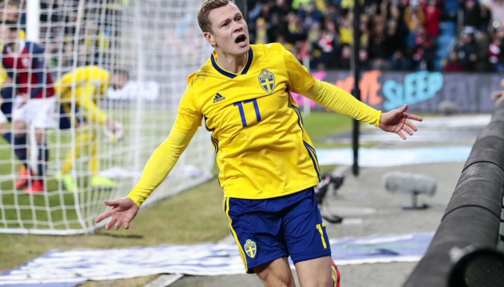 Viktor Claesson ble matchvinner da Sverige slo Spania torsdag. Her fra en kamp mot Norge i 2019. Foto: Lise Åserud/NTB