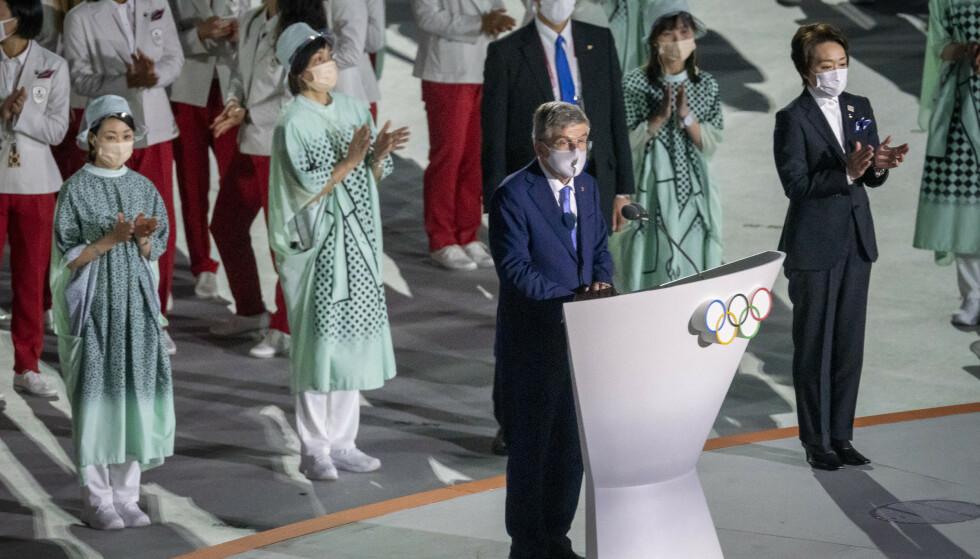 Tokyo, Japan 20210723. IOC president Thomas Bach taler under den historiske åpningsseremonien på Olympiastadion i Tokyo. På grunn av økende smitte har japanske myndigheter erklært unntakstilstand i Tokyo under hele OL som derfor blir publikumsfritt.Foto: Heiko Junge / NTB