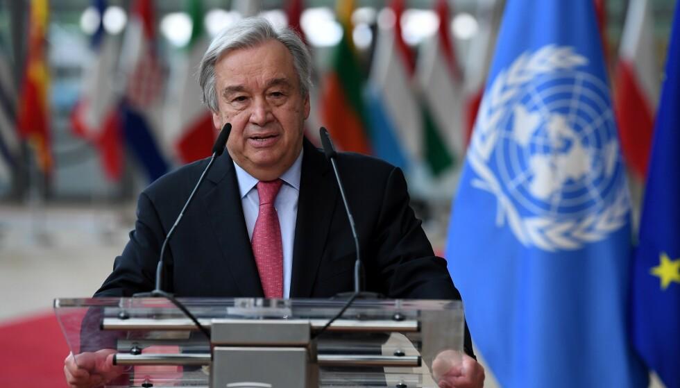 Generalsekretær António Guterres er blant dem som deltar på giverkonferansen for Afghanistan i Genève i Sveits. Arkivfoto: John Thys / Pool Photo via AP / NTB.
