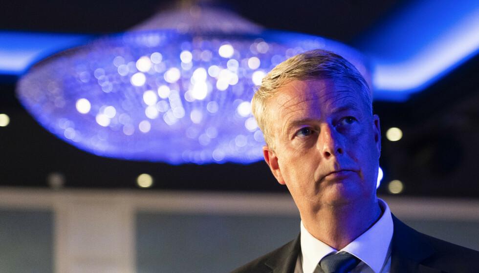 Terje Søviknes er på plass på Fremskrittspartiet valgvake på Hotel Bristol. Foto: Terje Pedersen / NTB