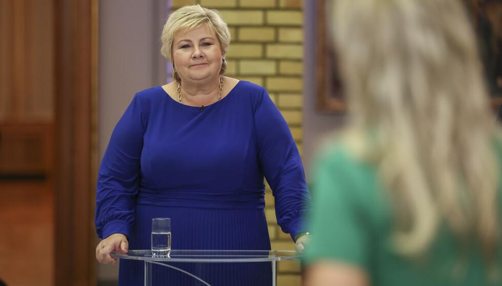 Oslo 20210914. Høyre-leder Erna Solberg under partilederdebatt på Stortinget. Foto: Beate Oma Dahle / NTB