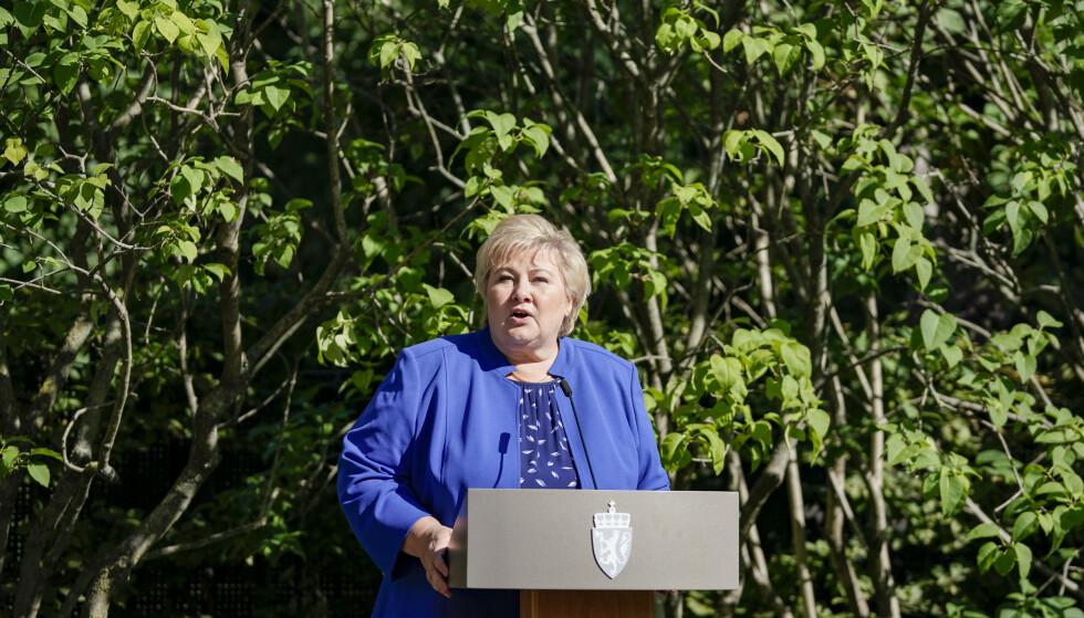 Statsminister Erna Solberg kommenterer resultatet etter stortingsvalget i regjeringens representasjonsanlegg.Foto: Stian Lysberg Solum / NTB