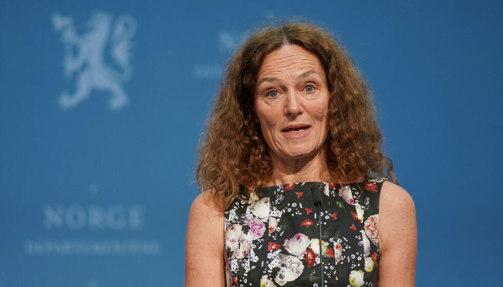 FHI-direktør Camilla Stoltenberg under en pressekonferanse om coronasituasjonen. Foto: Ali Zare / NTB