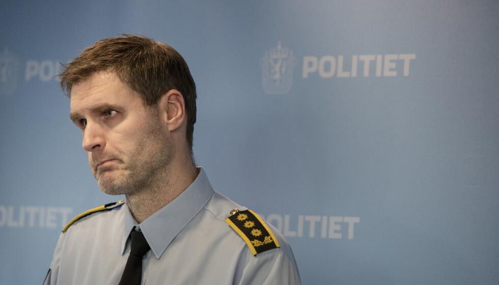 Politiadvokat Fredrik Martin Soma i Sørvest politidistrikt på en pressekonferanse om saken. Foto: Carina Johansen / NTB