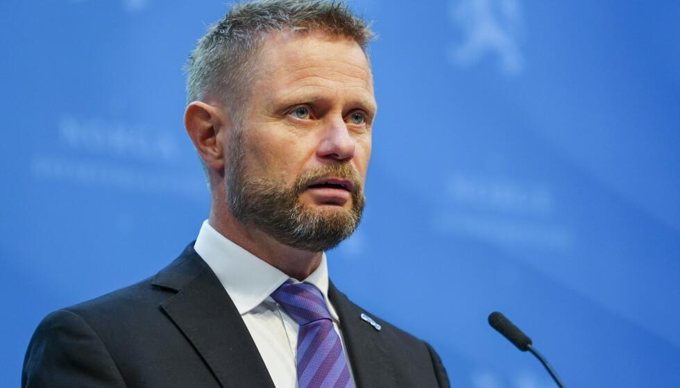 Helse- og omsorgsminister Bent Høie under en pressekonferanse om coronasituasjonen.Foto: Ali Zare / NTB