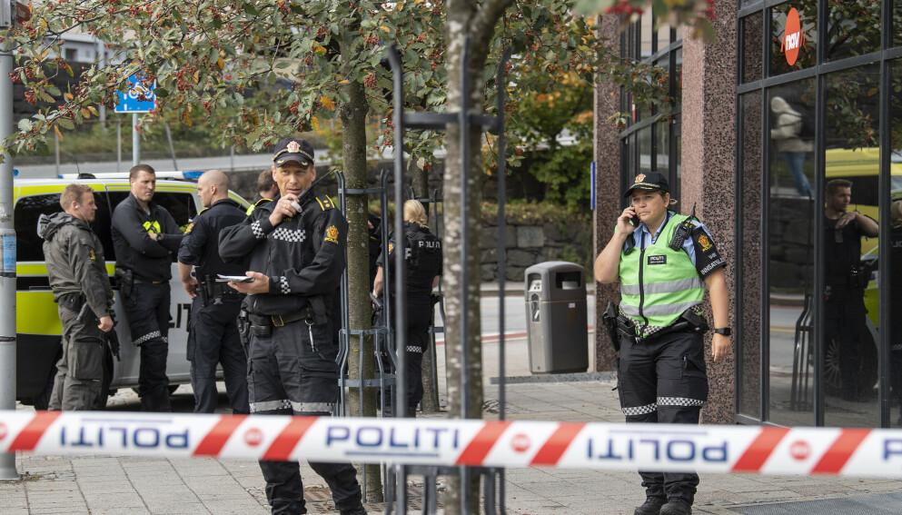 Kvinne døde av skadene etter knivangrep på Nav-kontor på Danmarksplass i Bergen.Foto: Marit Hommedal / NTB