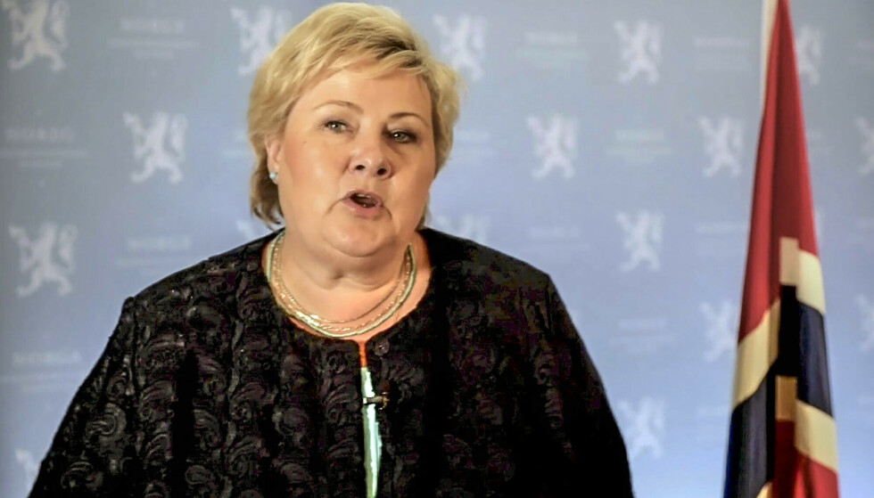 Erna Solberg talte i FN. (Foto: AP/NTB)