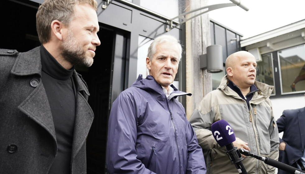 De tre partilederne for SV, Ap og Sp tar nå pause for helgen i regjeringssonderingene som har foregått på Hurdalsjøen Hotell. Foto: Torstein Bøe / NTB