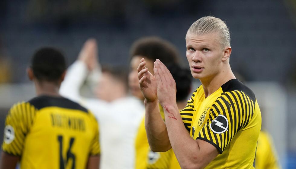Borussia Dortmund må klare seg uten Erling Braut Haaland borte mot Borussia Mönchengladbach. Foto: Martin Meissner / AP / NTB