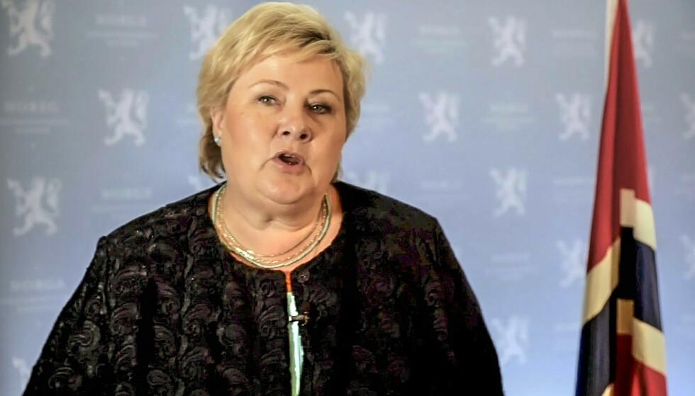 Erna Solberg i sin forhåndsinnspilte tale i FN. Foto: NTB scanpix / AP