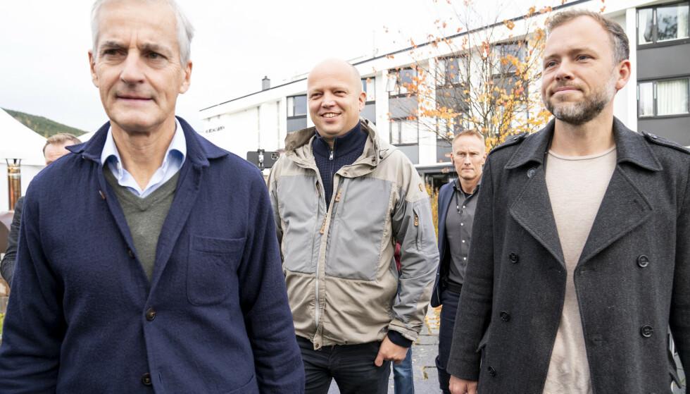 Ap-leder Jonas Gahr Støre, Sp-leder Trygve Slagsvold Vedum og SV-leder Audun Lysbakken ble ikke ferdige med sonderingene mandag. Foto: Torstein Bøe / NTB