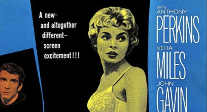 """""""Psyko"""" kom ut i 1960 og ligger på topp på listen til IMDb over skrekkfilmer. Foto: Filmplakat"""