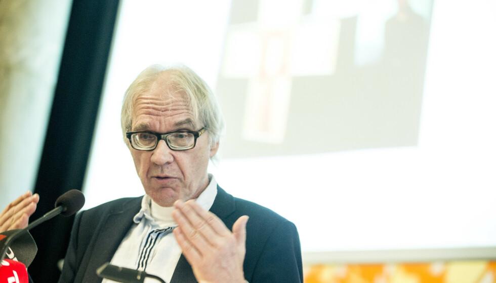 I 2015 ble Lars Vilks utsatt for et terrorangrep i København, da som deltaker i et debattmøte om kunst, blasfemi og ytringsfrihet. Her er han på en ytringsfrihetskonferanse i Danmark året etter. Foto: Nikolai Linares / NTB