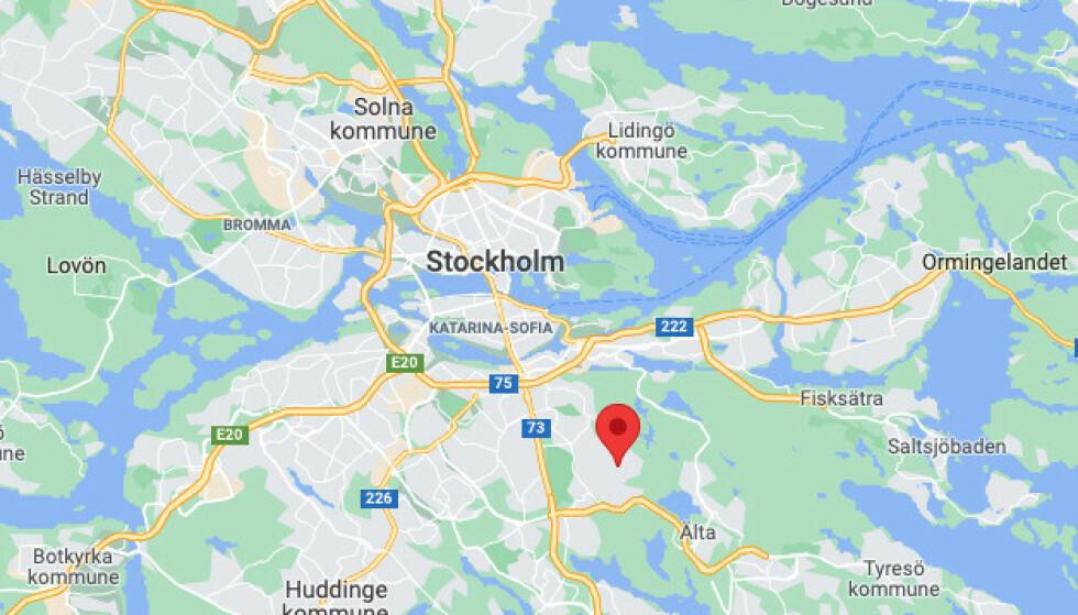Bagarmossen er en bydel i Skarpnäck bydelsområde i Söderort i Stockholm kommune. Skjermdump: Google Maps