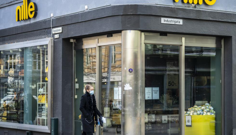 Oslo 20210316. Nesten 1.000 Nille-ansatte permittert etter Viken-nedstengingen. Butikken i Bogstadveien i Oslo tirsdag ettermiddag.Foto: Ole Berg-Rusten / NTB