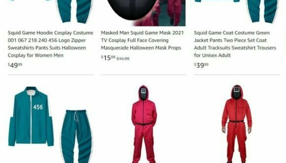 Amazon selges det tusenvis av «Squid Game»-kostymer. Foto: Skjermdump Amazon.