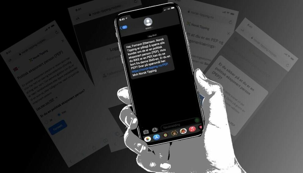 Denne tekstmeldingen har blitt sendt til flere hundre tusen personer. Foto: Norsk Tipping.