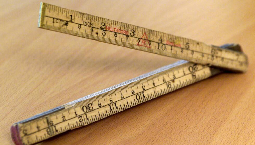 Kjær ting har mange navn: Tommestokk. Metermål. Målestokk. Meter. Centimeter. Millimeter. Inch. Foto: Erik Johansen