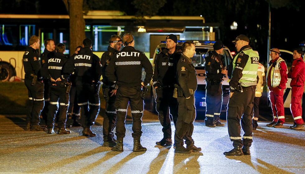 Politiet var i området med store styrker. Foto: Trond R. Teigen / NTB