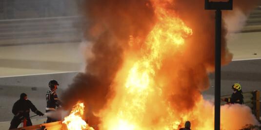 Image: Grosjean etter krasjen: Sikkerhetsbøyle reddet livet mitt
