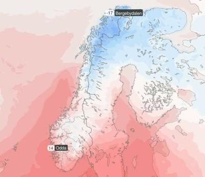 Image: 30 grader forskjell fra nord til sør
