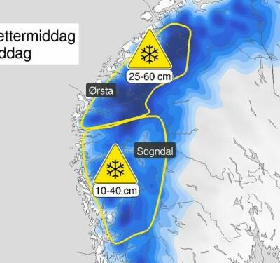 Image: Gult farevarsel for snø i Vestland og Møre og Romsdal